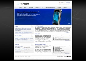 Certicom corporate website redesign